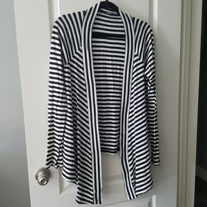 Express black and white stripes high low cardigan